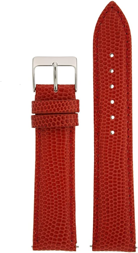 18mm Watch Band Genuine Leather San Antonio Mall Lizard Max 53% OFF Grain Red B Release Quick