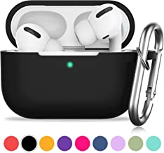 AirPods Pro Case, GMUDA Protective Silicone Cover with Keychain, Compatible with Apple AirPods Pro, Front LED Visible (Black)