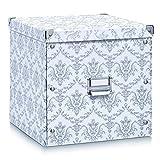 Zeller 17974 Caja de almacenaje de cartón Blanco (Vintage White) 33.5 x 33 x 32 cm