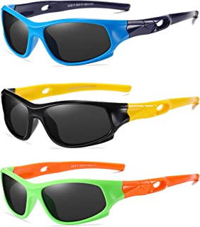 3 Pack Flexible Kids Polarized Sunglasses For Boys Girls...