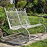 Outdoor Metal Rocking Arm Chair/Bench (Bench, Antique White)
