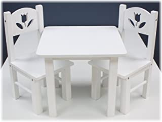 Real Wood Toys 18 Inch Doll Furniture- Wooden Table and Chairs Set - (18