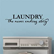 Vinyl wall lettering stickers quotes and saying Laundry the Never Ending Story for laundry room
