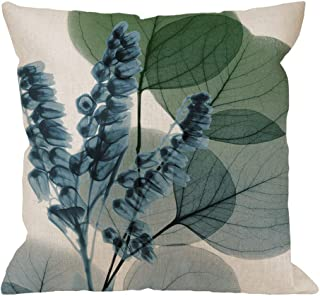 HGOD DESIGNS Leaves Throw Pillow Cushion Cover,Blue Lily of Eucalyptus Cotton Linen Polyester Decorative Home Decor Sofa Couch Desk Chair Bedroom 18x18inch Square Throw Pillow Case,Green