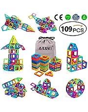 AILUKI Magnetische bouwstenen, 109 stuks, creatieve 3D-magnetische bouwblokken, bouwblokken, thuis, toren, auto, speelgoed, verjaardag, kinderdag, cadeau voor kleine kinderen, met opbergzakje