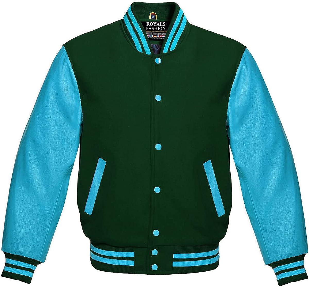 Varsity Letterman OFFer Baseball Direct sale of manufacturer Forest Green Genuin Wool Sky Blue and