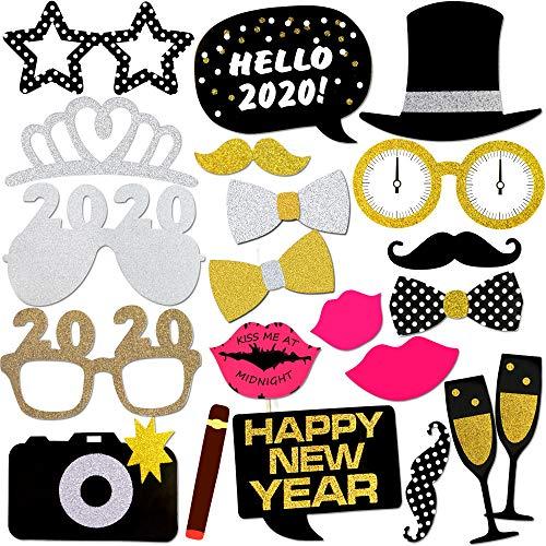 Konsait Año 2020 Photo Booth Props Cabina de Fotos Accesorios Photocall Divertido DIY Kit para Adultos Niños Mujeres Hombre Máscaras Sombrero Gafas 2020 Año Aniversarios Boda Decoración (21Pcs)