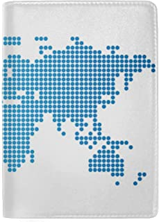 Colourful High Detail World Map Blocking Print Passport Holder Cover Case Travel Luggage Passport Wallet Card Holder Made with Leather for Men Women Kids Family