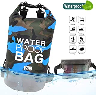 Idefair Waterproof Dry Bag 10L 20L, Floating Backpack with Waist Pouch, Lightweight Roll Top Dry Compression Sack for, Boating, Fishing, Kayaking, Swimming, Rafting, Camping