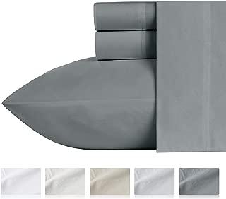 Percale-Sheets Organic Cotton King Size - Dark Grey 4-Piece Cool Lightweight Washed Bedding Set, GOTS Certified Crisp Deep Pocket Sheets for 18 Inch Mattress
