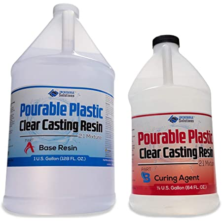 """Pourable Plastic Deep Pour Up To 2"""" Thick USA Manufactured Clear Casting Resin 1.5 Gallons Kit Perfect For River Tables & Castings – Low Odor Epoxy, a 2:1 Ratio"""