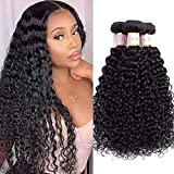 Tinall Hair Brazilian Virgin Kinky Curly 3 Bundles (12 14 16 Inch) 8A 100% Unprocessed Human Hair Curly Weft Extensions Weaves Natural Black