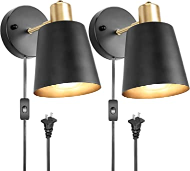 Plug in Wall Sconces, Wall Mounted Lamps with Plug in Cord Metal Vintage Industrial Wall Light Fixtures Lighting Reading Ligh