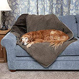 Furhaven Pet Dog Bed Blanket – Snuggly and Warm Faux Lambswool and Terry 100% Waterproof Insulated Thermal Self-Warming Pet Bed Throw Blanket for Dogs and Cats, Espresso, Large