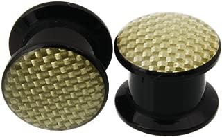 JewelryVolt AP-526 Pair of Beige Carbon fiber acrylic Screw Ear Gauges Plugs Tunnel