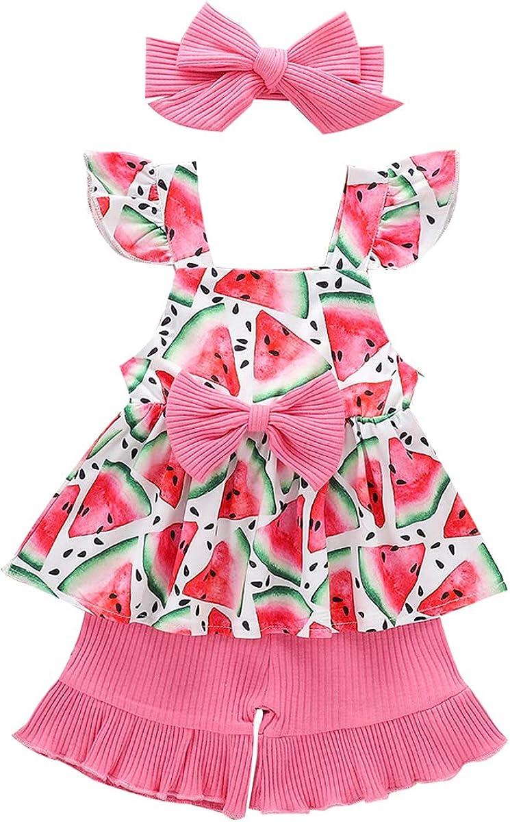 3PCS Toddler Baby Girl Summer Outfits Ruffle Strap Crop Tops+Shorts+Headband Clothes Set