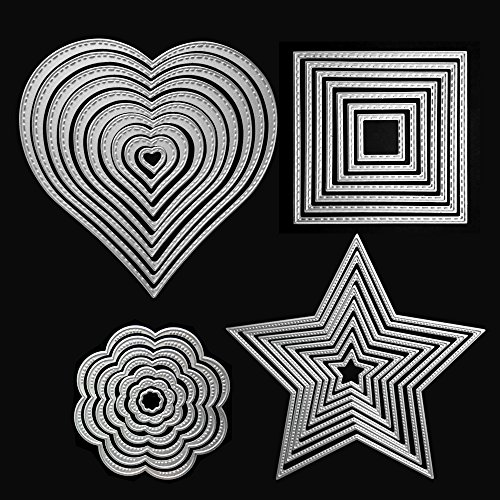 Die Cuts Cutting Dies Heart Square Flower Star Metal Embossing Stencils Template Mould for Card Scrapbooking and DIY Craft 4 Set 32 PCS
