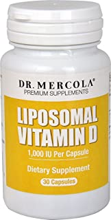 Dr. Mercola, Liposomal Vitamin D3 1,000 IU Dietary Supplement, 30 Servings (30 Capsules), Non GMO, Soy Free, Gluten Free