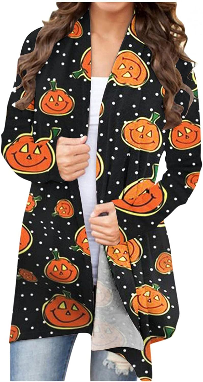 Cardigan for Women, Halloween Long Sleeve Open Front Cardigan Lightweight Funny Cute Pumpkin Ghost Black Cat Coat Plus Size