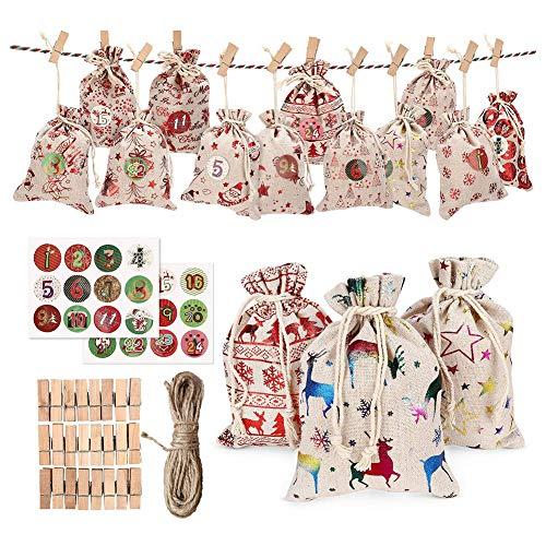 24 bolsas para calendario de adviento con 24 días,bolsas de arpillera de Navidad de cuenta regresiva,bolsas de regalo de yute de arpillera de Navidad 2020 con bolsa de caramelo con cordón para regalos