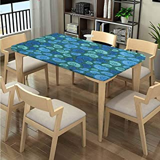 Elastic Edge Fabric Tablecloth, Periwinkle and Vortex Pattern printing, Elastic on The Corner Oblong Wrinkle Resistant Tablecloth Fits Rectangular Tables:72