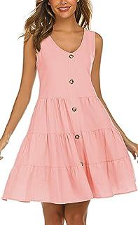 Halife Women's Button Front Dress Summer Sleeveless...