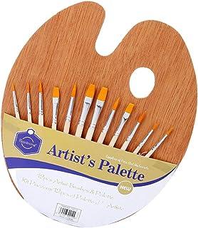 PretyzOOM Paleta de madeira de bandeja com 12 peças de pincéis de tinta para pintura de óleo acrílico aquarela artesanato ...