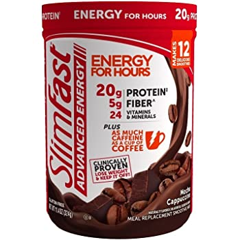 SlimFast Advanced Energy Mocha Cappuccino Smoothie Mix Powder – Meal Replacement Shake – 11.4oz. (324g) Canister