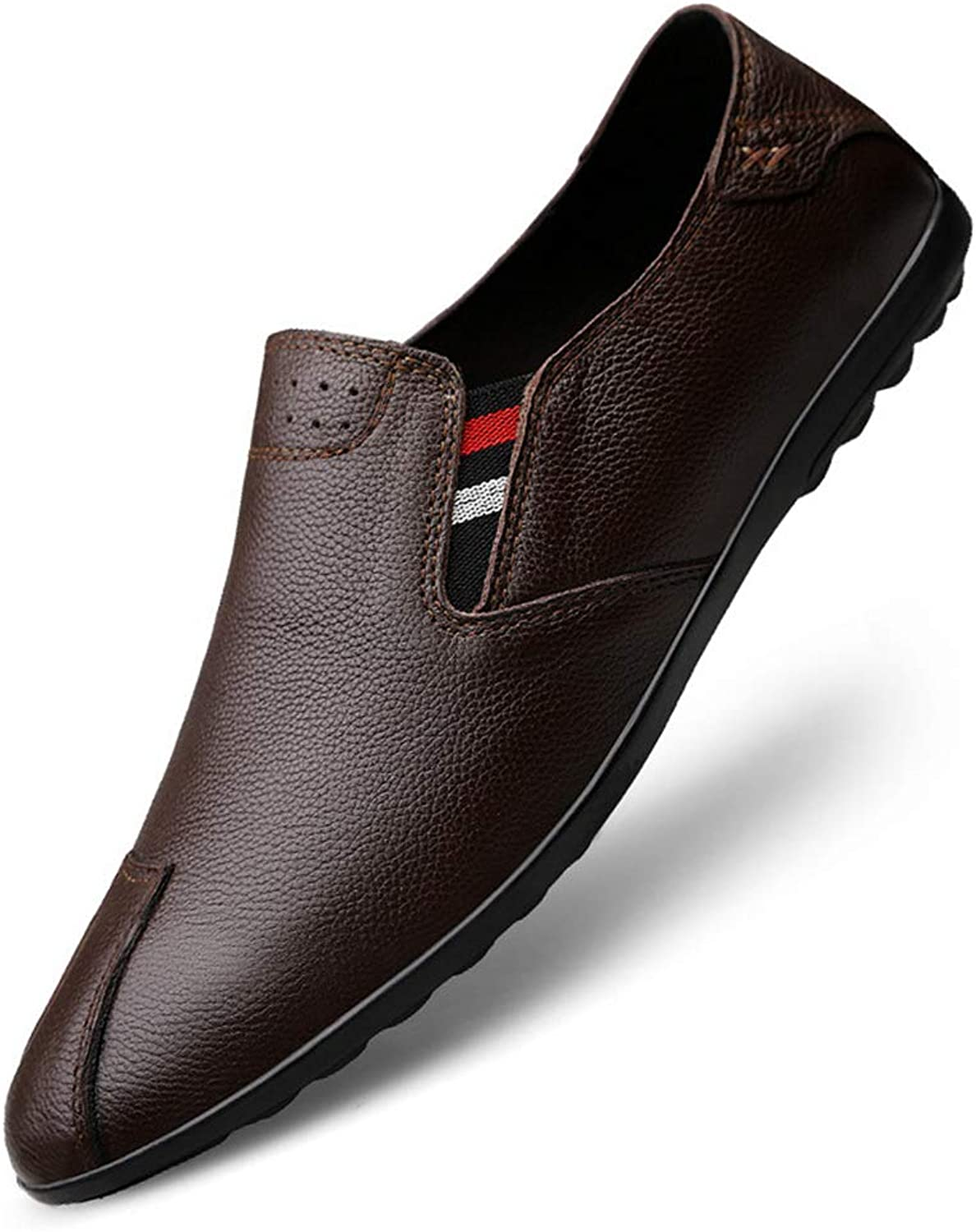 Men's shoes Leather Spring Summer Comfort Loafers & Slip-Ons For Casual Office & Career Outdoor shoes Black Brown,Brown,38