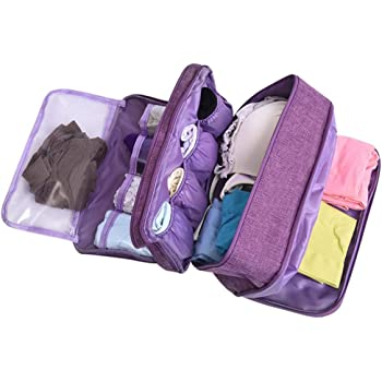 mossty Large Capacity Travel Multi-Function Underwear Organize Storage Bag, Bra/Socks/Cosmetic Accessories Toiletry Accessory Bag for Men Women