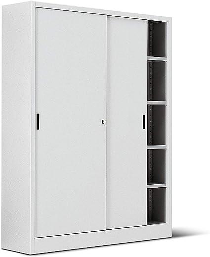 Italfrom Armadio In Metallo Bianco Per Ufficio Con Porte Scorrevoli Archivio Misura 150x45x200 Cod 2461 Amazon It Casa E Cucina