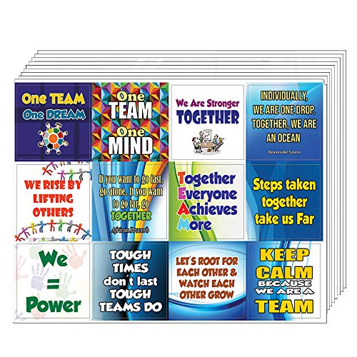 Creanoso Teamwork Stickers for Kids (10-Sheet) Total 120 pcs (10 X 12pcs) Individual Size 2.1 x 2. in, Waterproof, Unique Themes Designs, Any Flat Surface DIY Decoration Art Decal