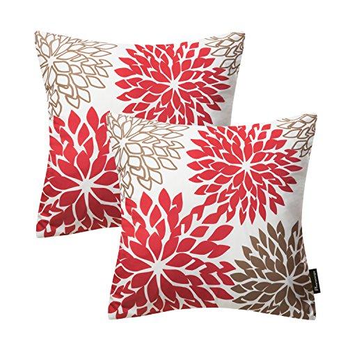 Phantoscope Set of 2 New Living Series Decorative Dahlia Red Throw Pillow Case Cushion Cover 18' x 18' 45cm x 45cm