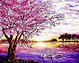N/W Lienzo DIY Pintura Al Óleo Manualidades para Pintar Pintura por Numeros Adultos Niños - Cisnes Y Cerezo Rosa 40X50Cm