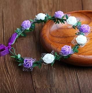 Perfect Party Decoration Holiday Accessories Bridal Wreath Headband Headdress Seaside Travel Photography Headdress(9 Flowers,Purple+White)