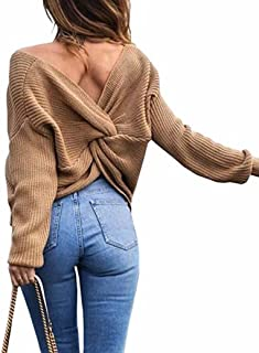 Doris Women's Sexy V Neck Criss Cross Back Long Batwing Sleeve Loose Knitted Sweater Pullovers