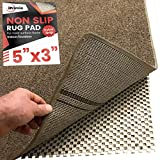 iPrimio Non Slip Area Rug Pad Gripper 5x3 for Bathroom, Indoor, Kitchen and Outdoor Area - Extra Grip for Hard Surface Floors
