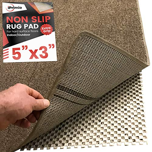 iPrimio Non Slip Area Rug Pad Gripper 5x3 for Bathroom Indoor Kitchen and Outdoor Area  Extra Grip for Hard Surface Floors