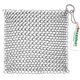 """Amagabeli 8""""x6"""" Stainless Steel Cast Iron Cleaner 316 Chainmail Scrubber for Cast Iron Pan Pre-Seasoned Pan Dutch Ovens Waffle Iron Pans Scraper Cast Iron Grill Scraper Skillet Scraper"""