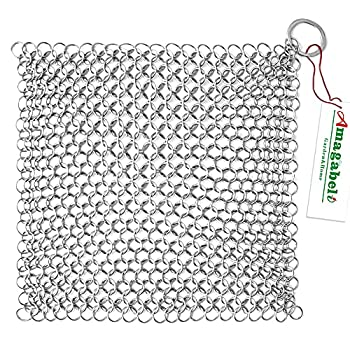 Amagabeli 8 x6  Stainless Steel Cast Iron Cleaner 316 Chainmail Scrubber for Cast Iron Pan Pre-Seasoned Pan Dutch Ovens Waffle Iron Pans Scraper Cast Iron Grill Scraper Skillet Scraper