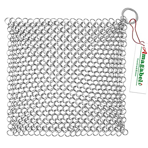 Amagabeli 8'x6' Stainless Steel Cast Iron Cleaner 316 Chainmail Scrubber for Cast Iron Pan Pre-Seasoned Pan Dutch Ovens Waffle Iron Pans Scraper Cast Iron Grill Scraper Skillet Scraper