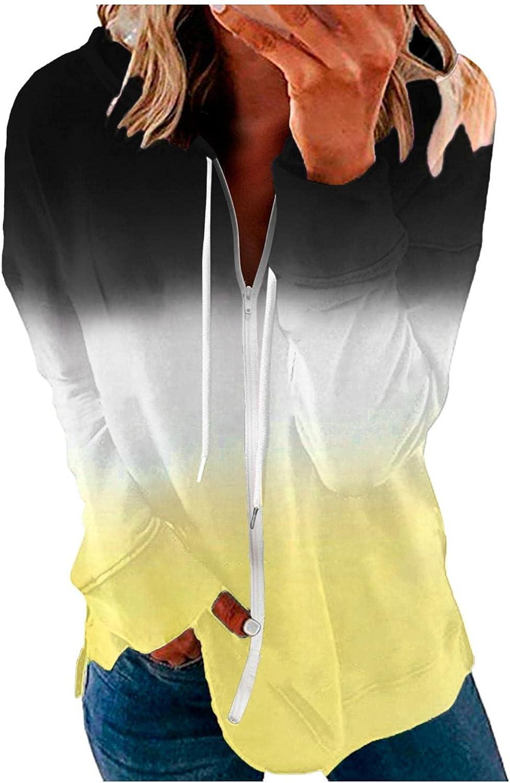 Jaqqra Hoodies for Women Long Sleeve Zip Up Gradient Sweatshirt Loose Pullover Tops Activewear Jacket with Pocket