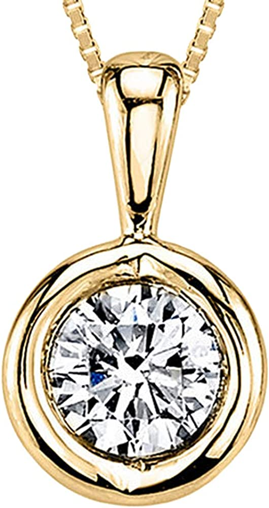 T.W Bezel Set Sim Diamond In 14K Gold Plated Solitaire Pendant Necklace 925 Silver Silvercartvila 1//8 CT