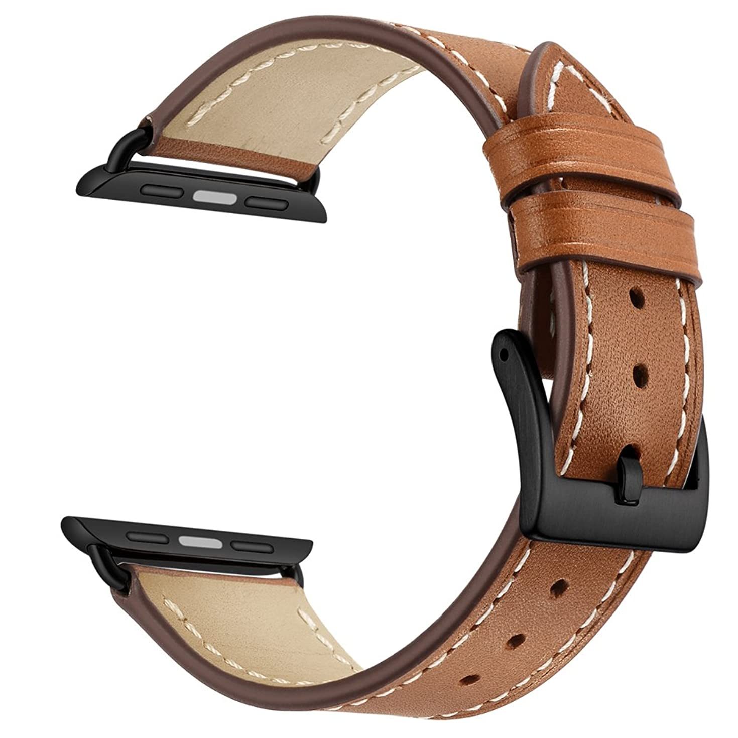 OXWALLEN Compatible for Apple Watch Band 38mm 40mm 42mm 44mm,Top Grain Genuine Leather Watch Strap Compatible with iWatch Series 4 & Series 3 Series 2 Series 1 Sport and Edition