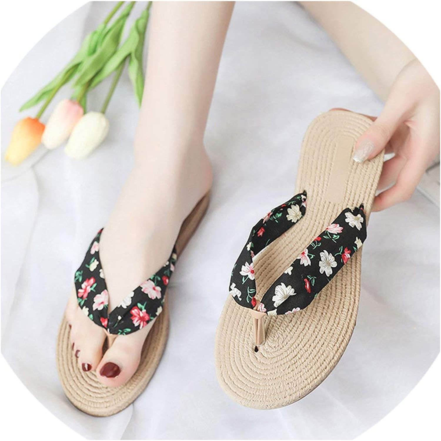 April With You Women Slippers Dot Slippers shoes Straw Slip on Flat shoes Printing Flip Flop Flower Slides shoes