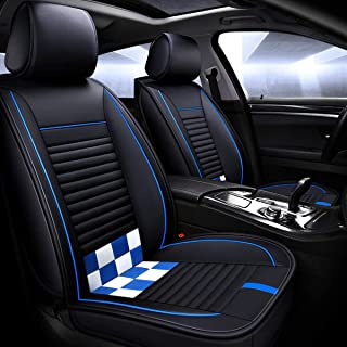 RED-SHYN Youth Fashion Wear-Resistant Leather Car Seat Cover Five-seat Universal Fit (Black-Blue)