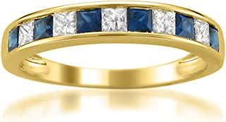La4ve Diamonds 14k Yellow Gold Princess-Cut Diamond and Blue Sapphire Wedding Band Ring (5/8 cttw, H-I, I1-I2)