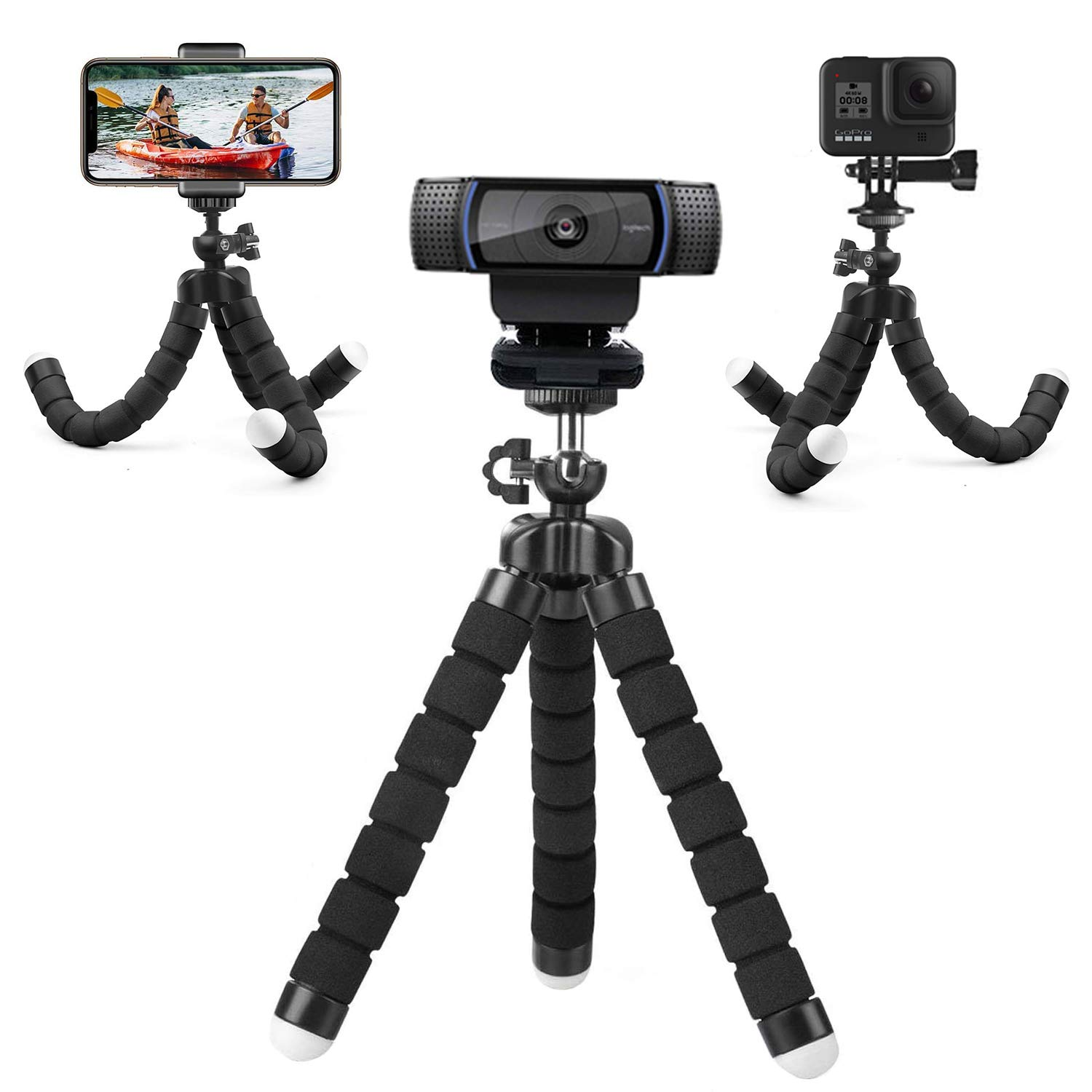 Flexible Desk Webcam Stand,Adjustable Premium Phone Holder,Portable Sponge Camera Tripod. Compatible with GoPro Hero,Logitech and Nexigo Webcam.