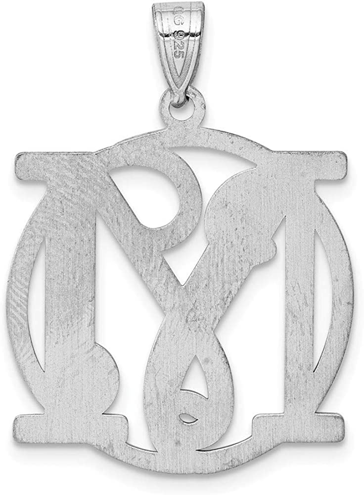 Snake or Ball Chain Necklace Sterling Silver Fancy Script Initial M Charm on a Sterling Silver Cable