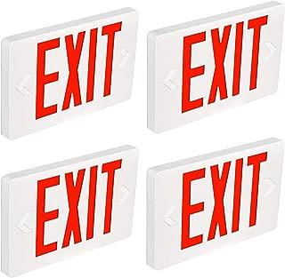 Hykolity Ultra Slim LED Exit Sign, Red Letter Emergency exit Lights, 120V-277V Universal Mounting Double Face - 4 Pack